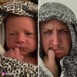 Papà ricrea le facce esilaranti che sua figlia fa bevendo latte