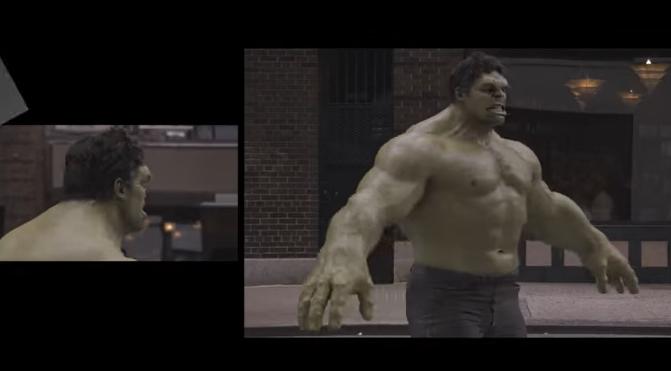 effetti speciali che danno vita a Hulk