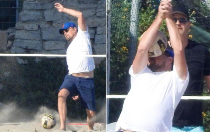 Leonardo Di Caprio riceve una brutta pallonata in faccia