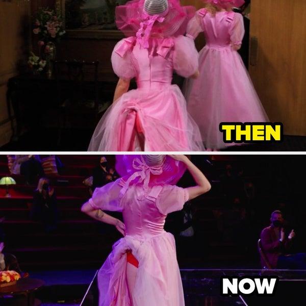 Una foto di allora e di oggi del vestito da damigella d'onore di Rachel bloccato nella sua biancheria intima
